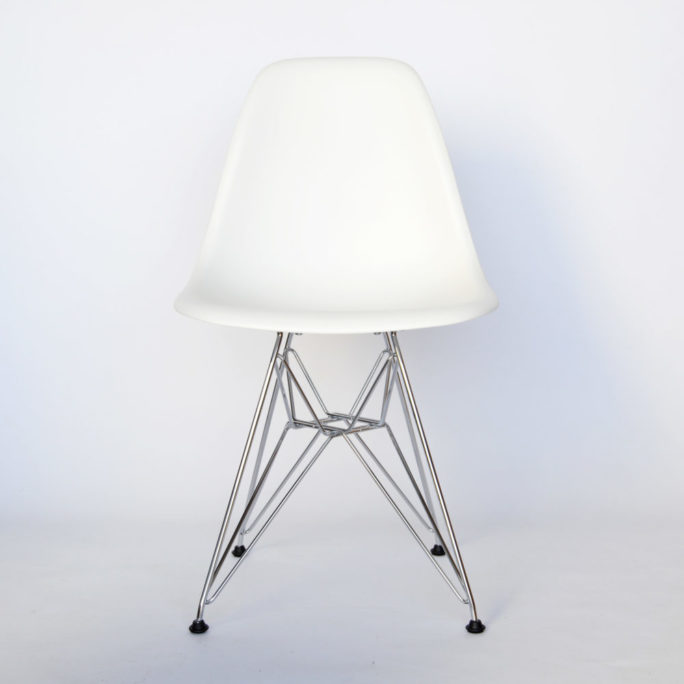 MidModern Vitra Eames Plastic Side Chair DSR - Weiss & Chrom (Neue Höhe)