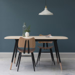 ercol 382 plank table half black and 401 butterfly chair