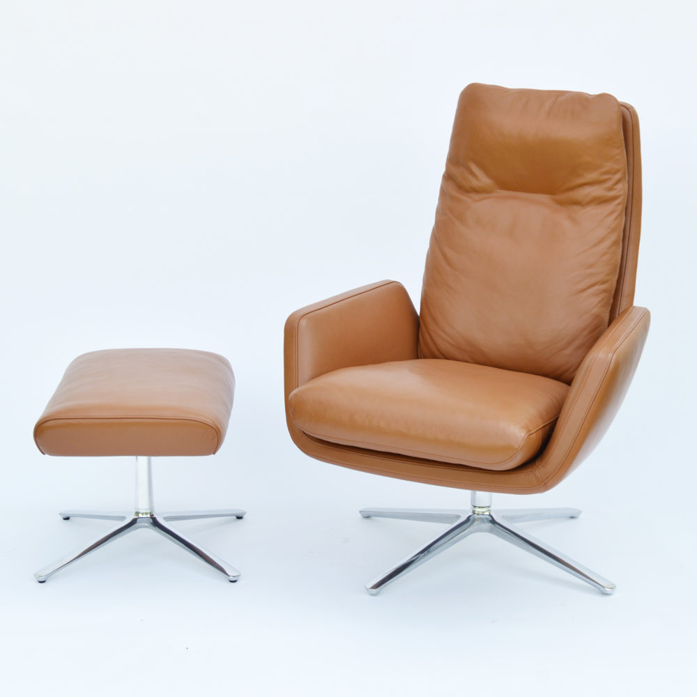 Cor Cordia Armchair Stool Leather Cognac At Midmodern De