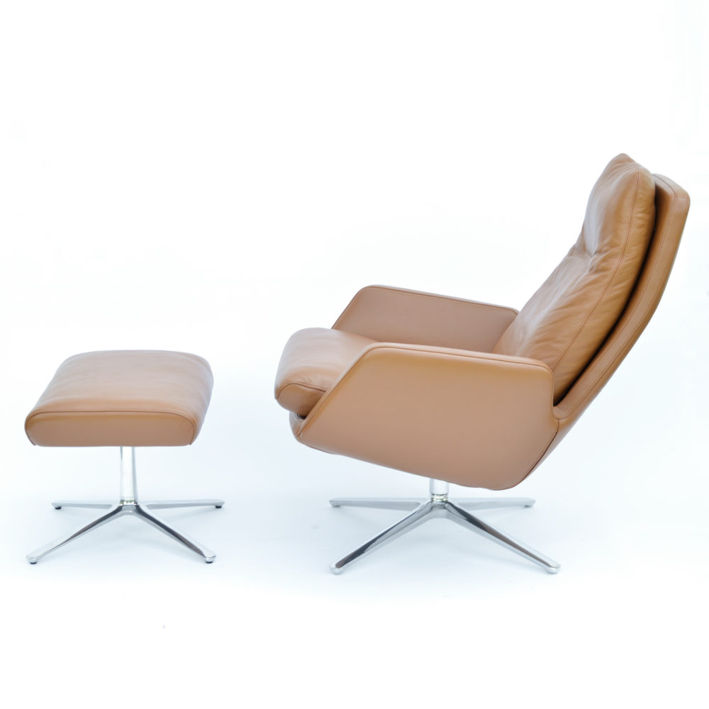 Cor Cordia Armchair Stool Leather Cognac At Midmodernde