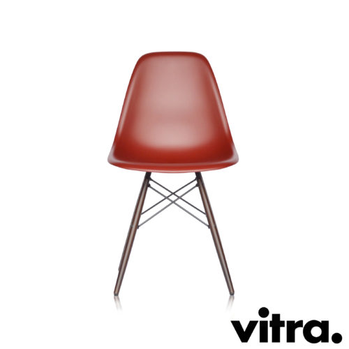MidModern Vitra Eames Plastic Side Chair DSW - Oxidrot & Ahorn, dunkel (Neue Höhe)