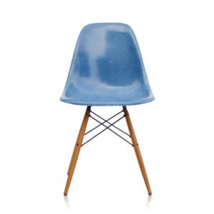 MidModern Eames Side Chair DSW Fiberglass - Medium Blue (vintage)