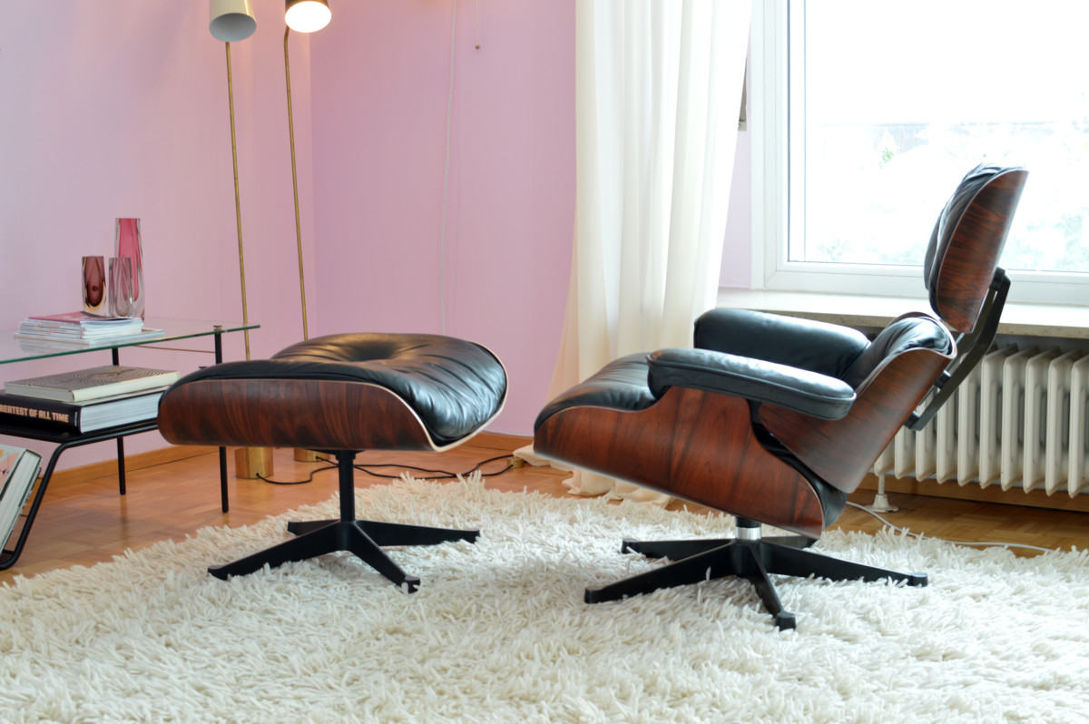 Eames lounge chair & ottoman vintage 1970er by vitra